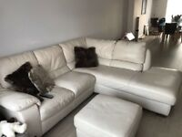 Italian cream leather sofa including footstool
