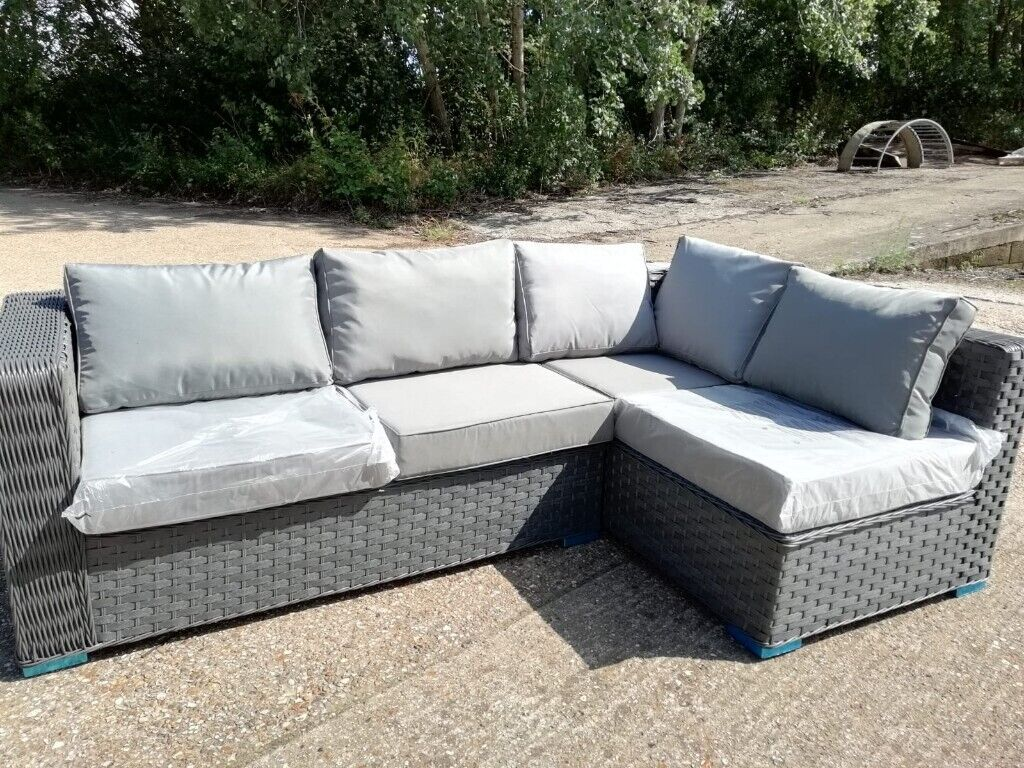Brand New Chunky Grey Rattan Wicker L Shaped Garden Sofa Outdoor Patio Furniture In Witham Es Gumtree