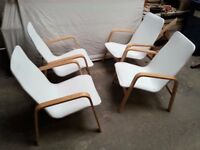 Set of 4 material armchairs in good condition! Furnitures