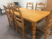 6ft Oak Table & 6 Chairs