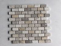 Tumbled Mixed Travertine Brick Mosaic Tiles 24 x 48 mm