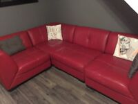 Red leather sofa in great condition. Is in 4 cubes so great for a corner sofa, 2x 2 seater sofas.