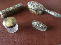 Antique silver dressing table set with hallmarks