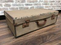 Vintage Leather Trim Suitcase Trunk
