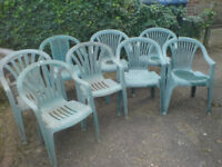 8 PLASTIC GARDEN CHAIRS