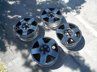 set 15 inch v w golf/polo alloy wheels 5 spoke 5 x 100 pcd , refurbed black , as pictures nice cond