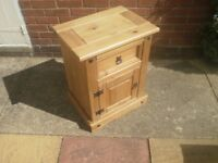 Bedside drawer and cupboard unit, cabinet, solid wood newly waxed, shabby chic ready