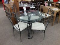 Metal and Glass Dining Table + 4 Chairs