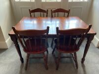 Vintage wooden dining table and four chairs - extendable - shabby chic, farmhouse