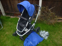 Mothercare pushchair travel system blue black from birth to 3 years VGC