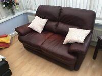 Chocolate leather sofa- bargain