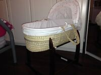 Love you to the stars Moses basket and Deluxe wooden stand