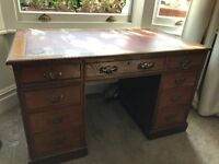 Pedestal desk - antique style with red leather top