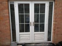 White UPVC French Doors and Frame with two side lights