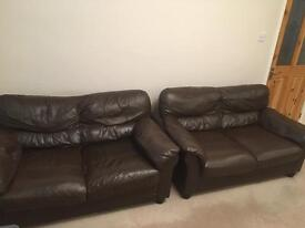 Dark brown leather sofas 2 seaters and chair