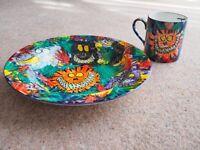 Simon Key hand painted jungle animals child's bowl and mug + Thomas 1990