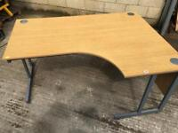 Oak veneer right hand corner office desk