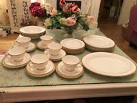 Royal Doulton Covington gilt and white dinner and tea set