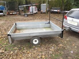 GALVANISED STEEL GOODS TRAILER 7 X 5-6 APPROX WITH LADDER RACK ETC...