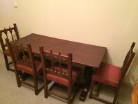 Antique Oak Refectory Table & Four Chairs Central Stretcher