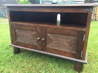 TV Corner Unit - Solid Dark Wood - Great Condition RRP £175!