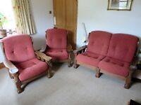3 piece suite Solid oak frame by Edwards of Monmouth