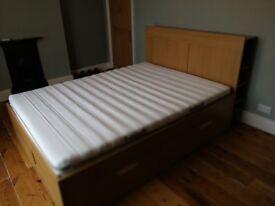 Bed frame with storage and headboard Brimnes Standard King IKEA & Foam mattress