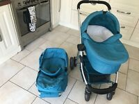 iCandy cherry pushchair in berry blue with carrycot and more