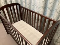 Walnut Obaby cot suitable from birth