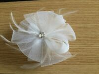 White Mesh And Feather Fascinator