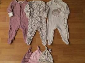 3 x Girls Next sleepsuits and matching hats