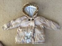 "girls ""Next"" winter coat with fur lined hood age 2-3 excellent condition"
