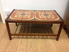 Vintage teak tile top occasional table