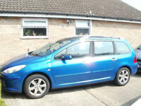 peugeot 307 1.6 petrol sw estate 2007 low miles77000 fsh in nice condition m.o.t