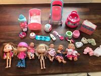 Bundle mini baby dolls & accessories