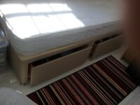 Single divan and mattress with double drawers