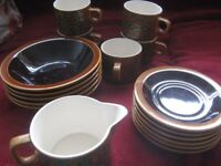 Hornsea Pottery 1977 Bronte pattern. 5 teacups, 6 saucers, 5 cereal bowls, 1 jug. South Sheffield