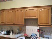 Oak faced kitchen units / cupboards