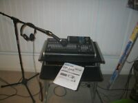 TASCAM 24 TRACK DIGITAL PORTA STUDIO DP 24SD SET UP INCLUDING MIC/STAND/HEADPHONES /DESK........