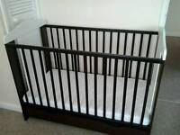 Cot hardly used with mattress and top changer