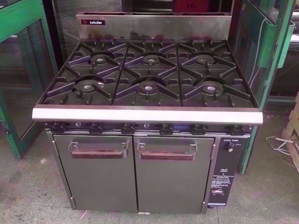 SIX BURNER CATERING FASTFOOD COOKER + CONFECTION FAN OVEN COMMERCIAL MACHINE TAKEAWAY KITCHEN SHOP
