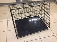 """Brand New - Ellie-Bo, Black 30"""" Small Sloping Foldable Dog Crate with Metal Tray"""