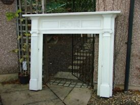 Antique painted carved oak fire surround