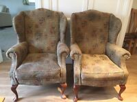 Wing back chairs x2