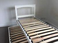 White shaker style single bed