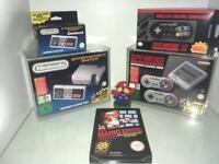 Nintendo Nes classic and snes classic mini consoles plus controllers