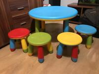 Kids plastic table and chairs