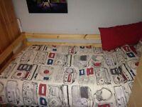 Flexa childrens bedroom set including single bed, chest of drawers, wardrobe, book shelf and desk.