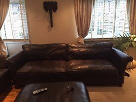 Brown 5 Seat real leather sofa