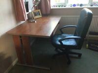 Walnut finish computer desk